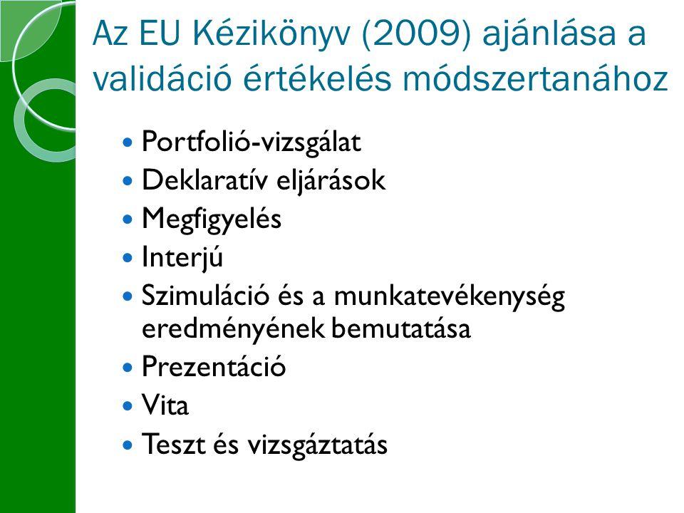 Az EU Kézikönyv (2009) ajánlása a validáció értékelés módszertanához