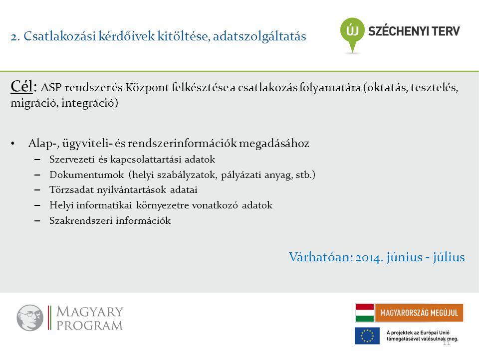 2. Csatlakozási kérdőívek kitöltése, adatszolgáltatás