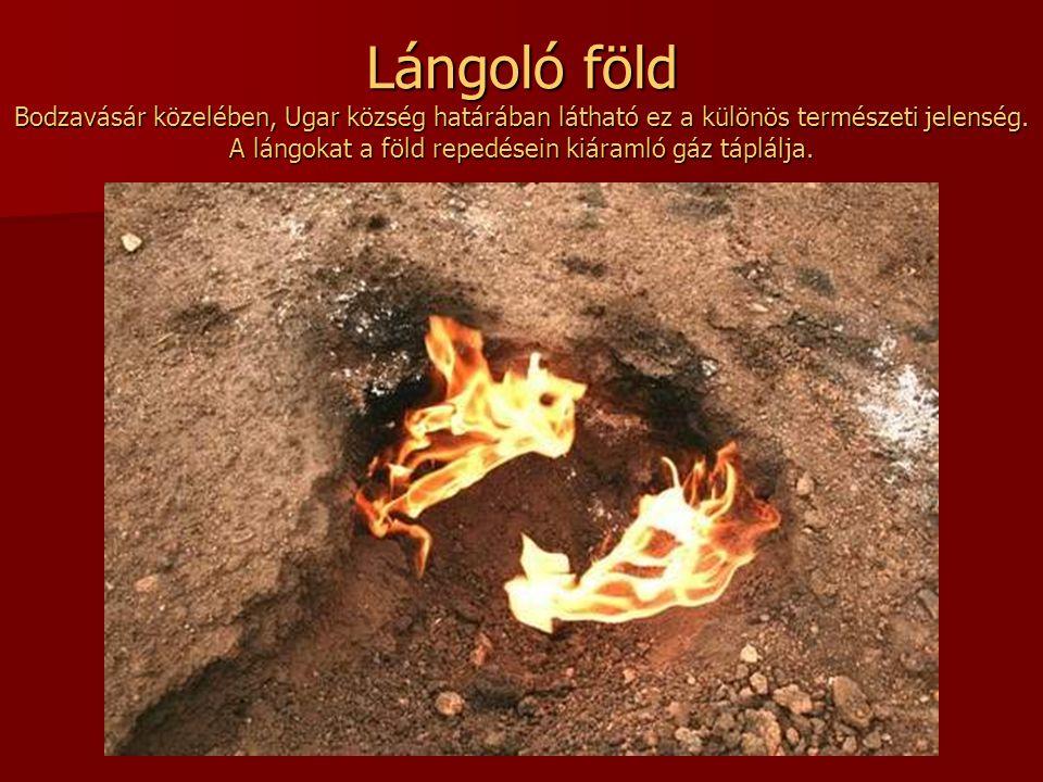 Lángoló föld Bodzavásár közelében, Ugar község határában látható ez a különös természeti jelenség.