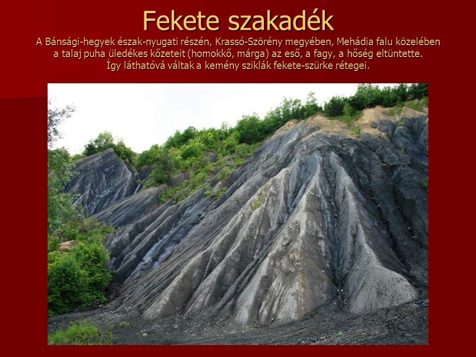 Fekete szakadék A Bánsági-hegyek észak-nyugati részén, Krassó-Szörény megyében, Mehádia falu közelében a talaj puha üledékes kőzeteit (homokkő, márga) az eső, a fagy, a hőség eltüntette.