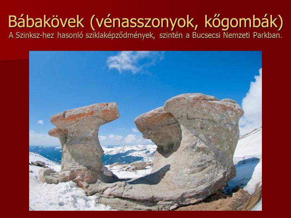 Bábakövek (vénasszonyok, kőgombák) A Szinksz-hez hasonló sziklaképződmények, szintén a Bucsecsi Nemzeti Parkban.