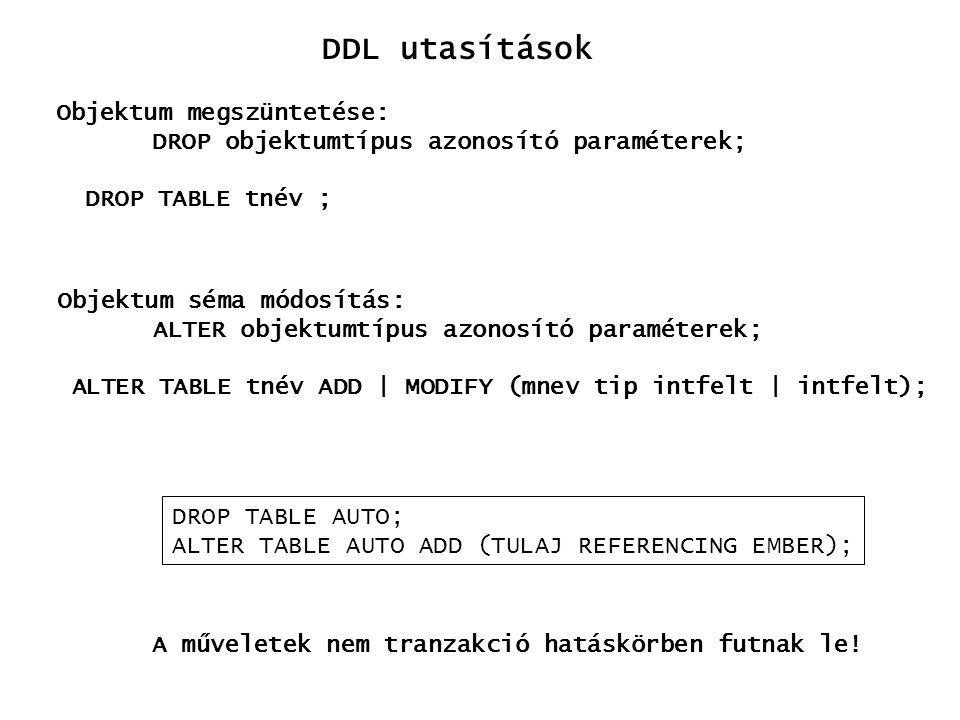 DDL utasítások Objektum megszüntetése: