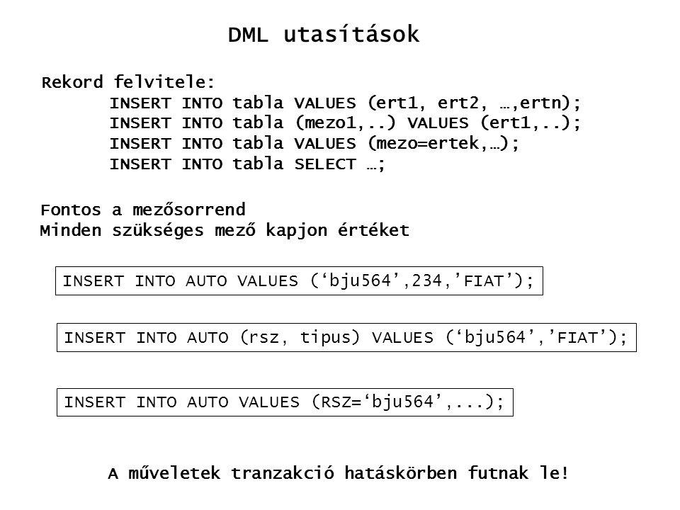 DML utasítások Rekord felvitele: