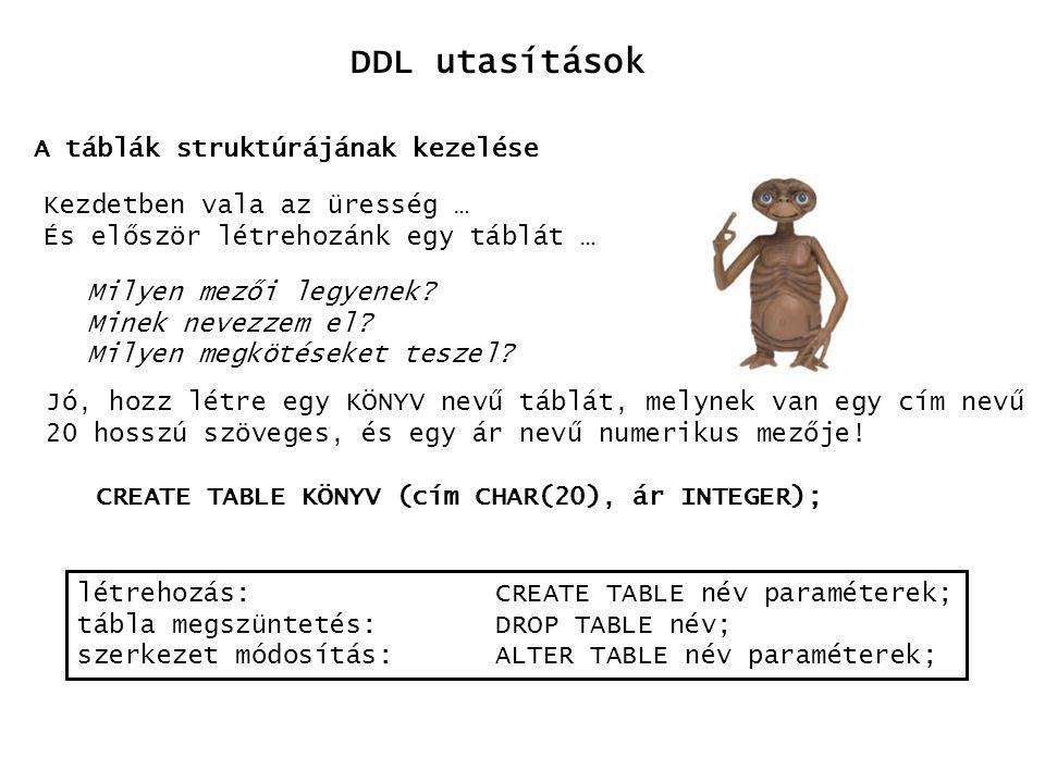 DDL utasítások A táblák struktúrájának kezelése
