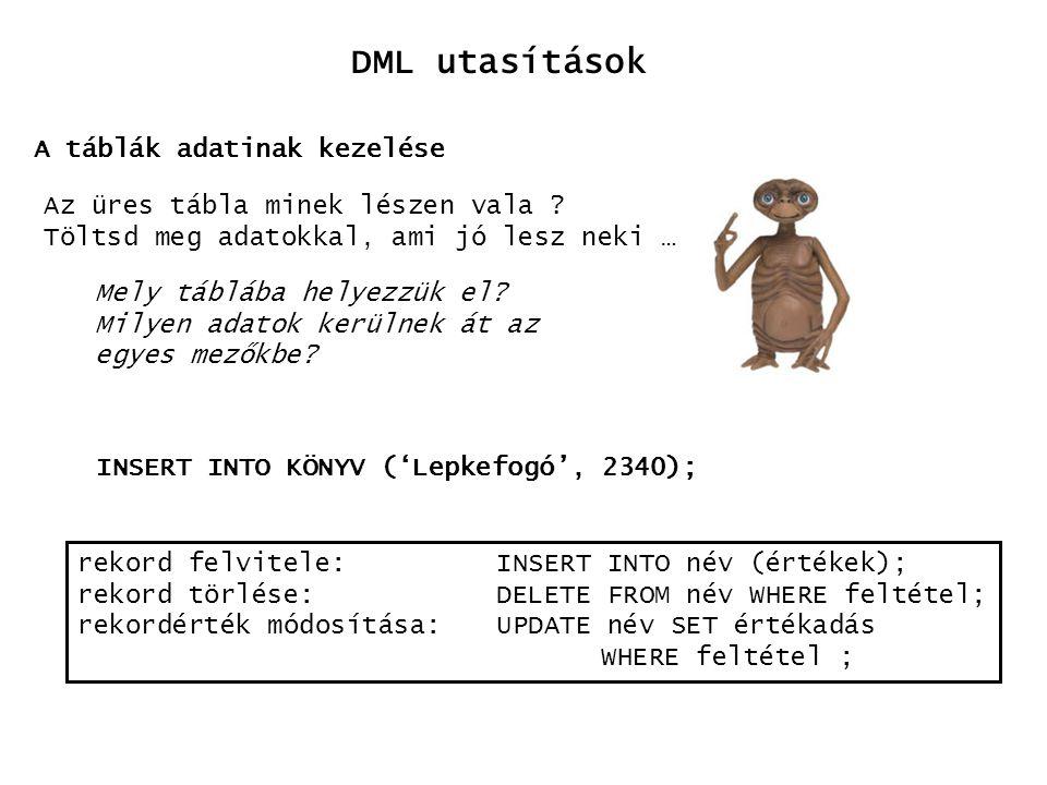 DML utasítások A táblák adatinak kezelése