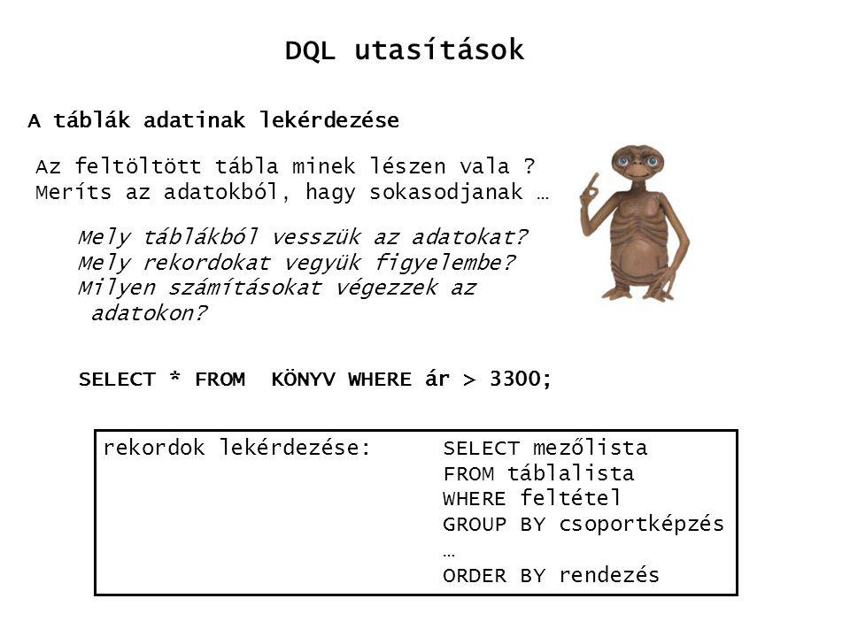 DQL utasítások A táblák adatinak lekérdezése