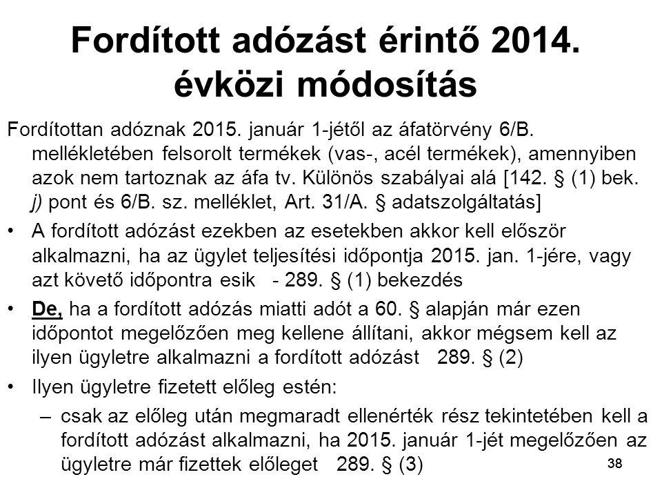 Fordított adózást érintő 2014. évközi módosítás