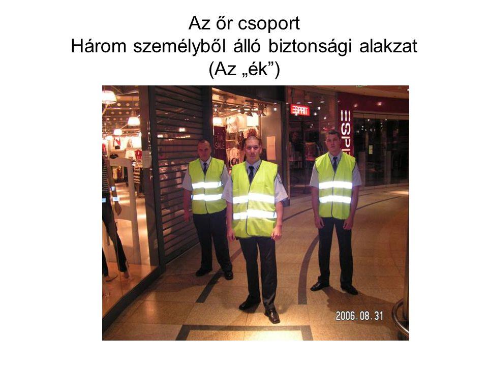 """Az őr csoport Három személyből álló biztonsági alakzat (Az """"ék )"""