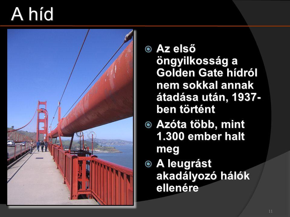 A híd Az első öngyilkosság a Golden Gate hídról nem sokkal annak átadása után, 1937- ben történt.
