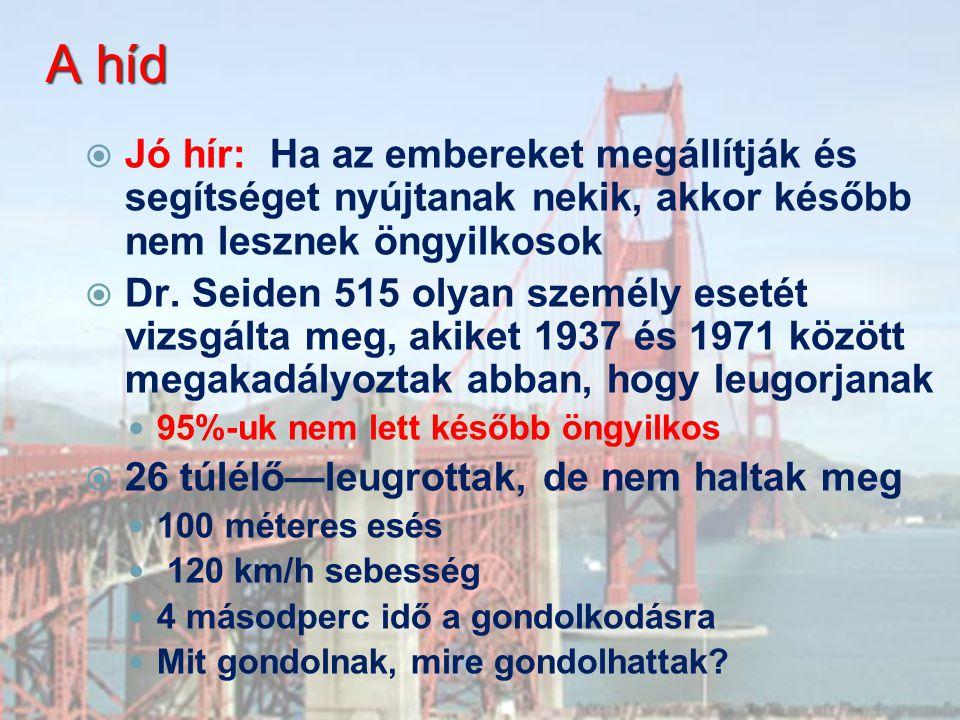 A híd Jó hír: Ha az embereket megállítják és segítséget nyújtanak nekik, akkor később nem lesznek öngyilkosok.