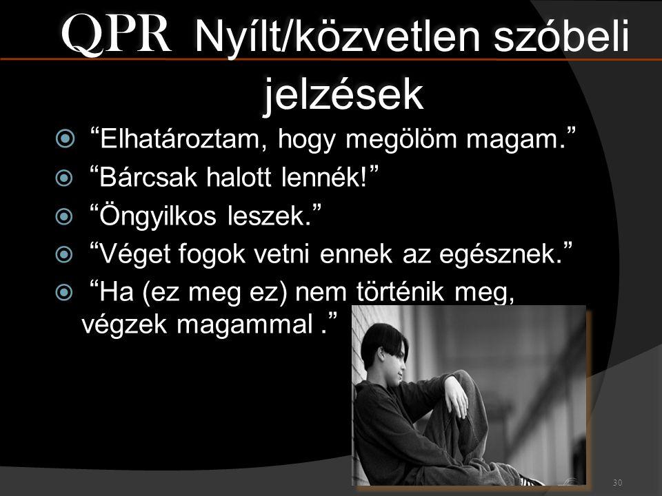 QPR Nyílt/közvetlen szóbeli jelzések