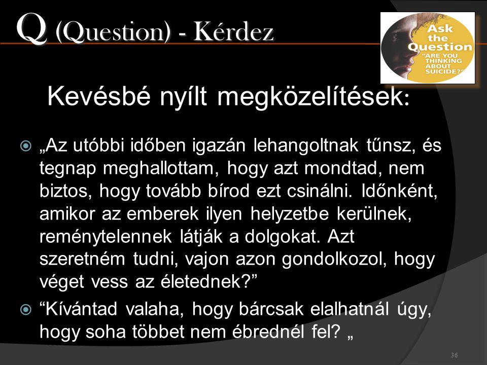 Q (Question) - Kérdez Kevésbé nyílt megközelítések: