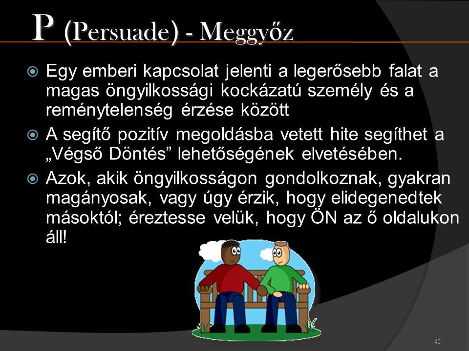 P (Persuade) - Meggyőz Egy emberi kapcsolat jelenti a legerősebb falat a magas öngyilkossági kockázatú személy és a reménytelenség érzése között.