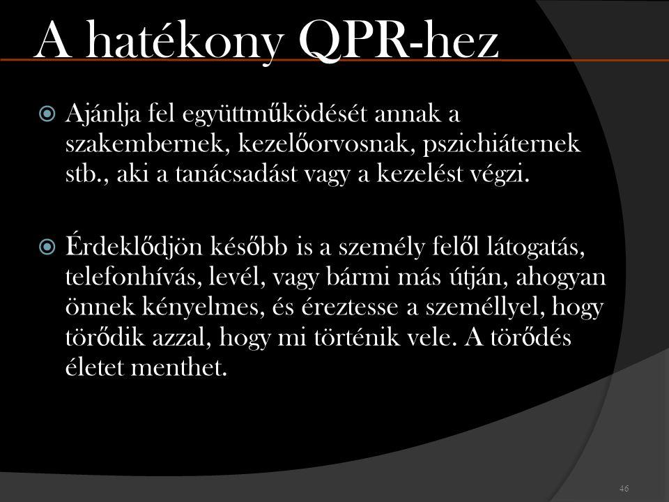 A hatékony QPR-hez Ajánlja fel együttműködését annak a szakembernek, kezelőorvosnak, pszichiáternek stb., aki a tanácsadást vagy a kezelést végzi.