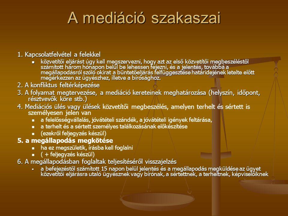 A mediáció szakaszai 1. Kapcsolatfelvétel a felekkel