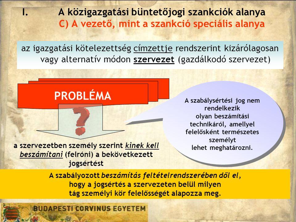 A közigazgatási büntetőjogi szankciók alanya C) A vezető, mint a szankció speciális alanya