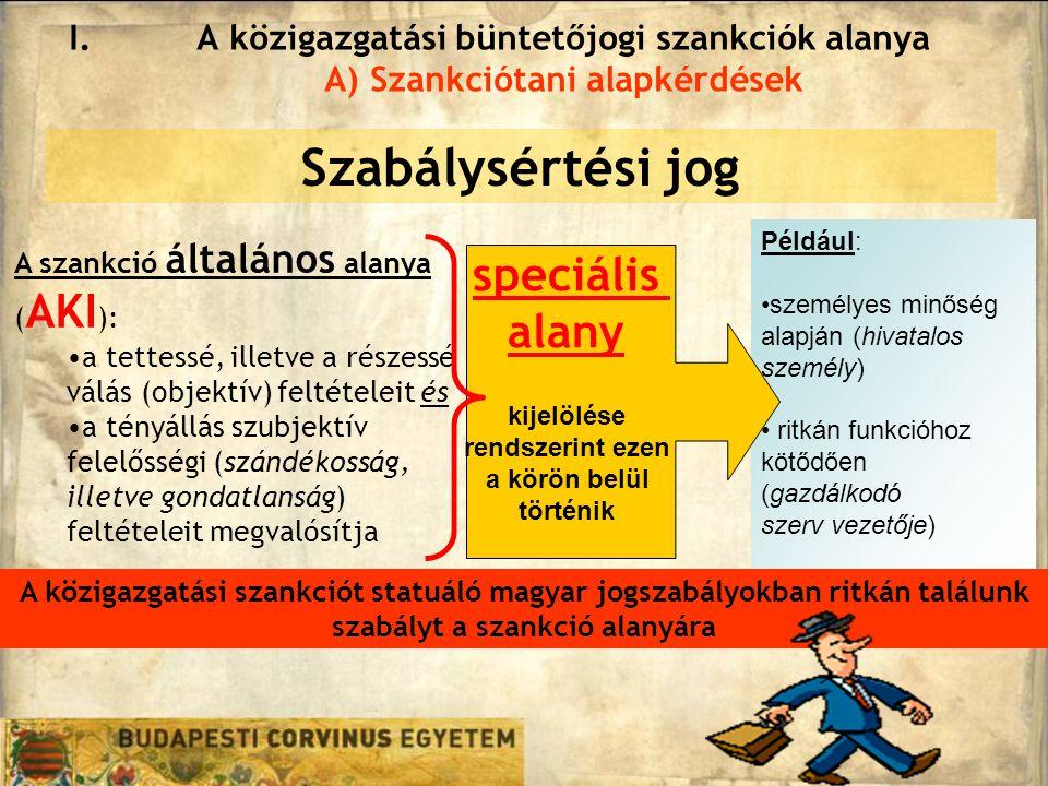 Szabálysértési jog speciális alany