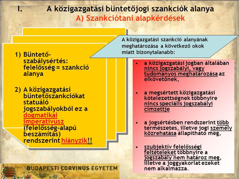 A közigazgatási büntetőjogi szankciók alanya A) Szankciótani alapkérdések