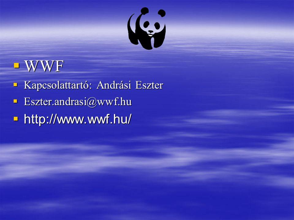 WWF http://www.wwf.hu/ Kapcsolattartó: Andrási Eszter