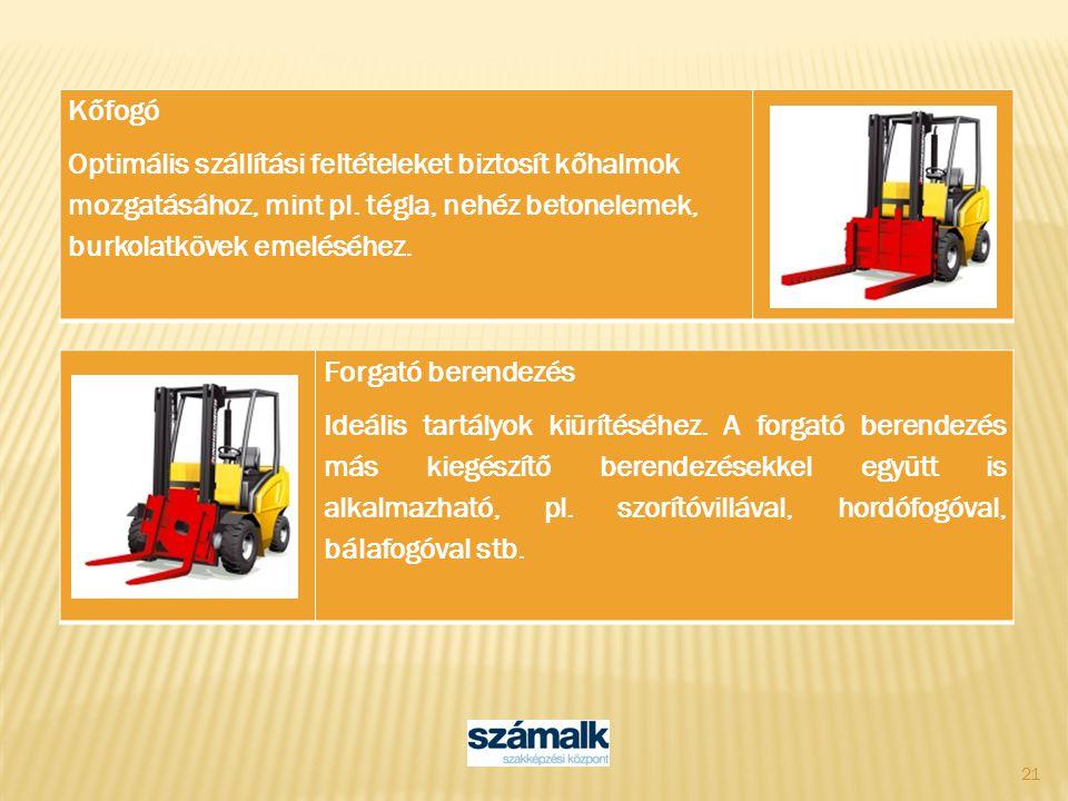 Kőfogó Optimális szállítási feltételeket biztosít kőhalmok mozgatásához, mint pl. tégla, nehéz betonelemek, burkolatkövek emeléséhez.