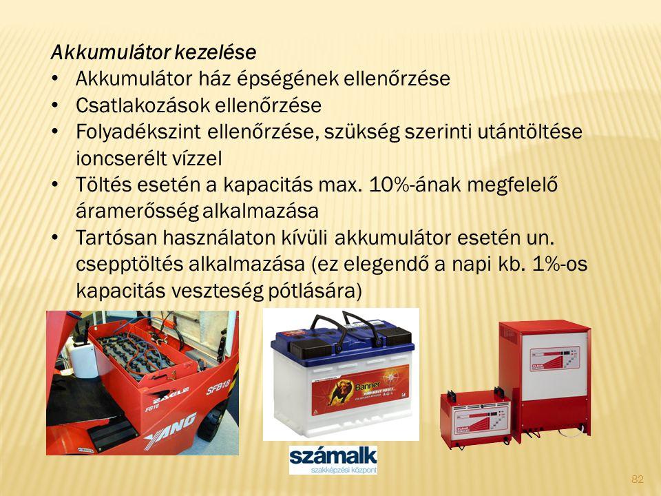 Akkumulátor kezelése Akkumulátor ház épségének ellenőrzése. Csatlakozások ellenőrzése.