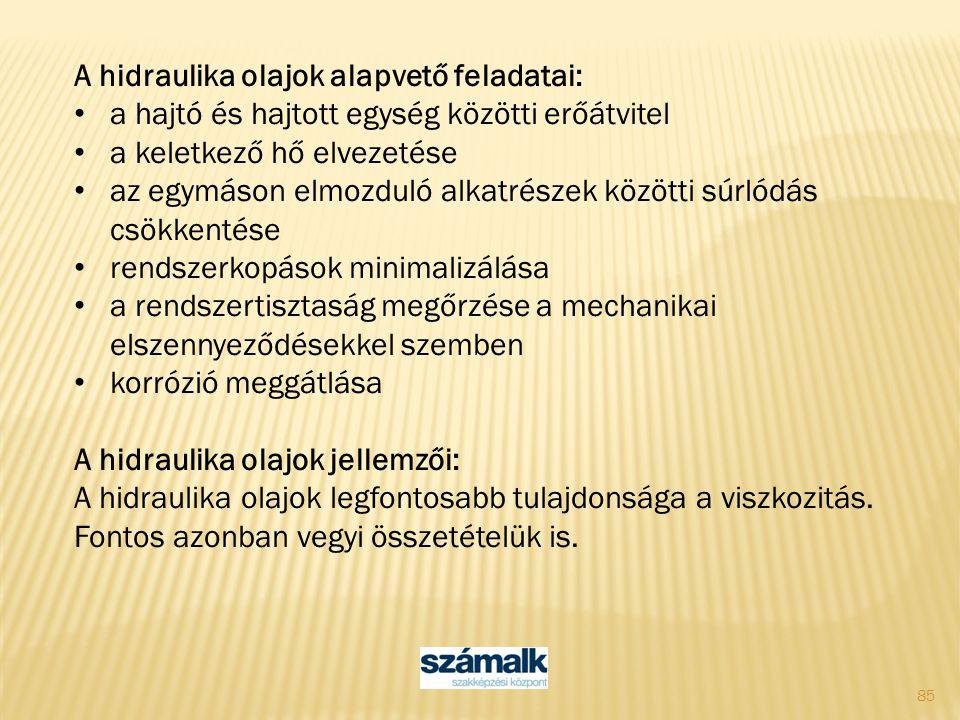 A hidraulika olajok alapvető feladatai: