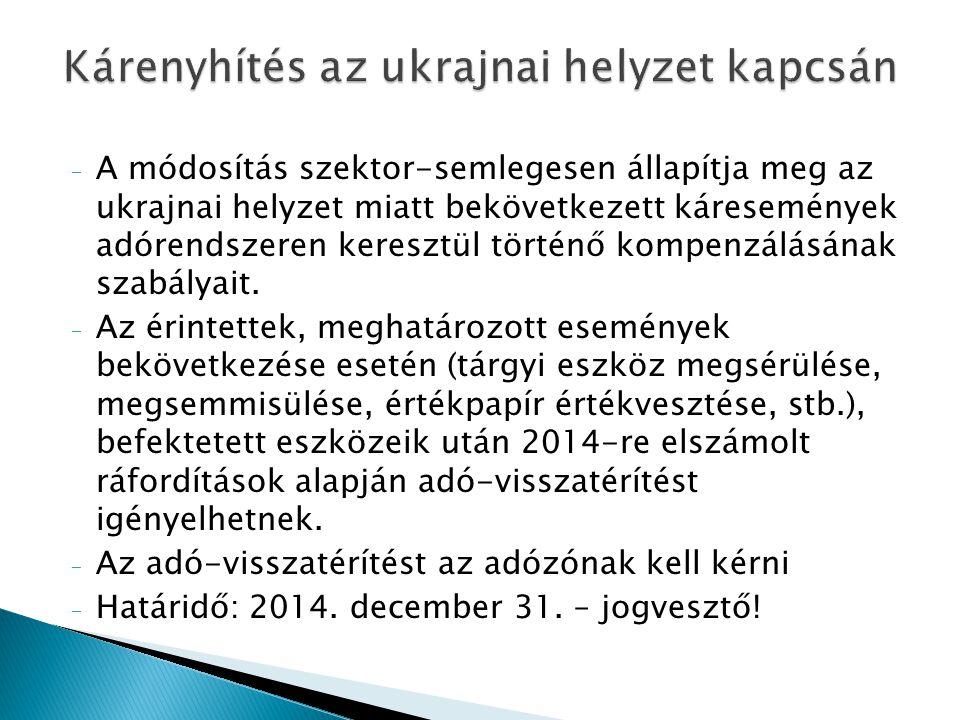 Kárenyhítés az ukrajnai helyzet kapcsán