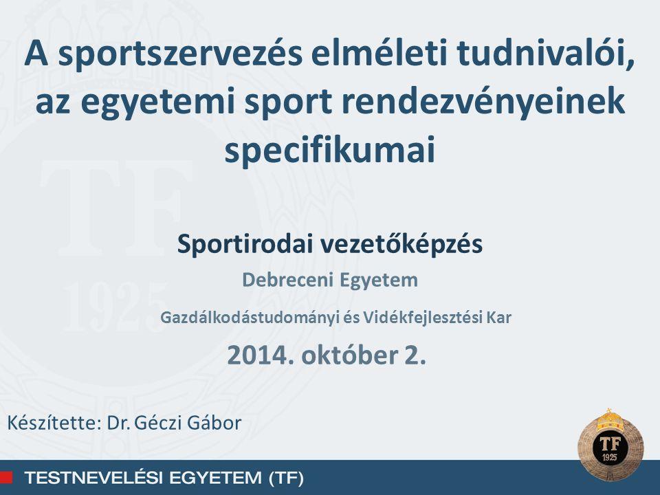 Sportirodai vezetőképzés Gazdálkodástudományi és Vidékfejlesztési Kar