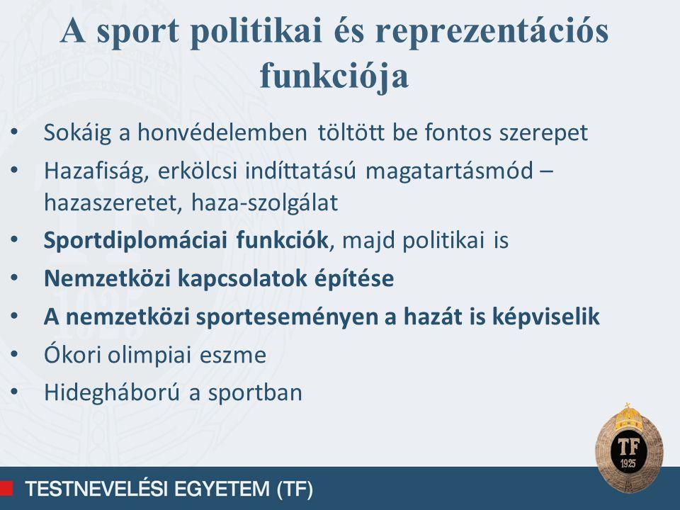A sport politikai és reprezentációs funkciója
