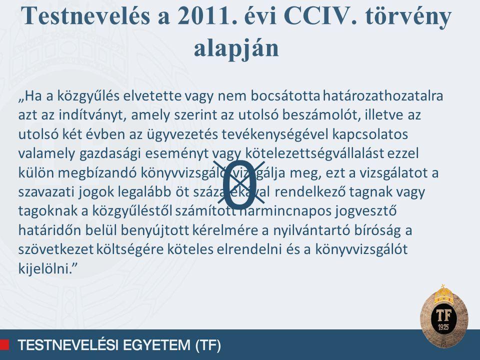 Testnevelés a 2011. évi CCIV. törvény alapján