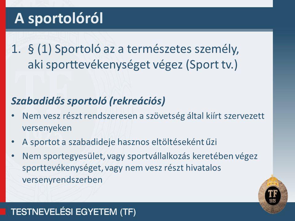 A sportolóról § (1) Sportoló az a természetes személy, aki sporttevékenységet végez (Sport tv.) Szabadidős sportoló (rekreációs)