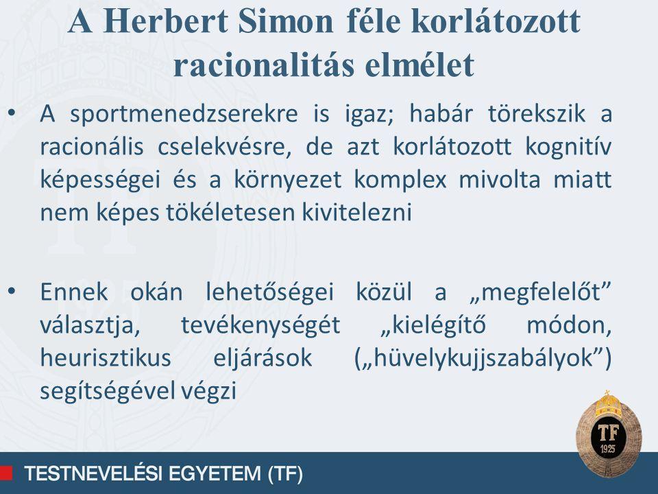 A Herbert Simon féle korlátozott racionalitás elmélet