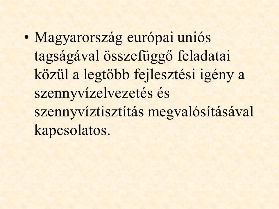 Magyarország európai uniós tagságával összefüggő feladatai közül a legtöbb fejlesztési igény a szennyvízelvezetés és szennyvíztisztítás megvalósításával kapcsolatos.