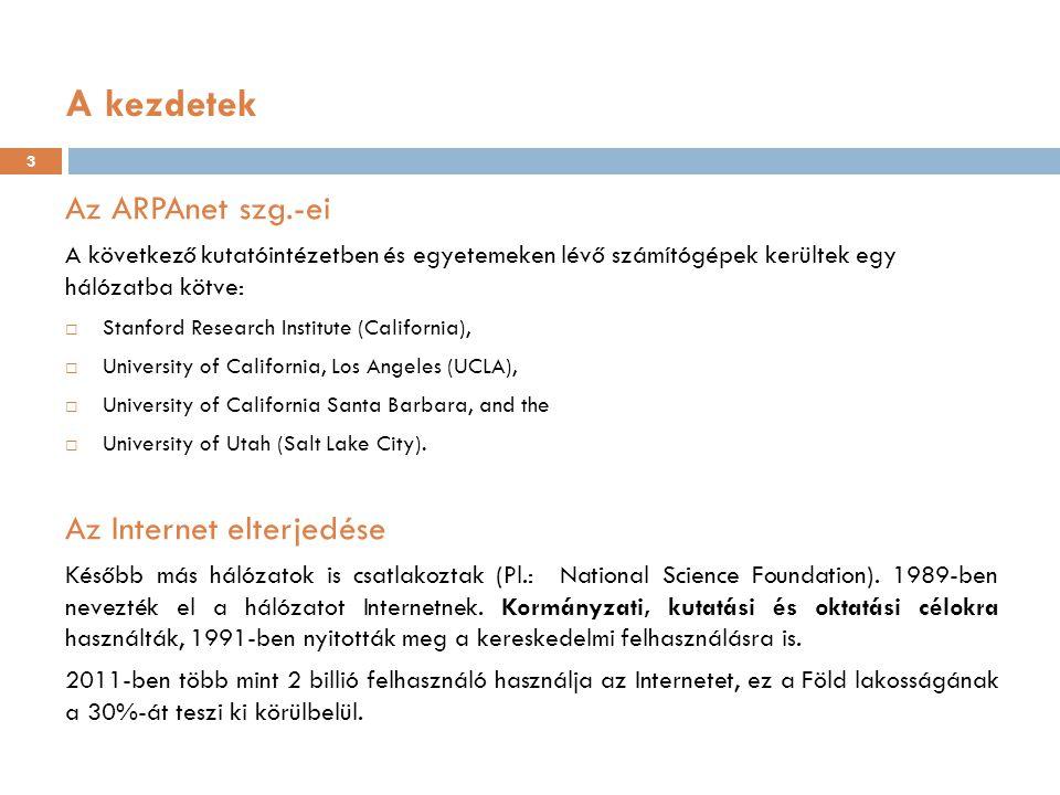 A kezdetek Az ARPAnet szg.-ei Az Internet elterjedése