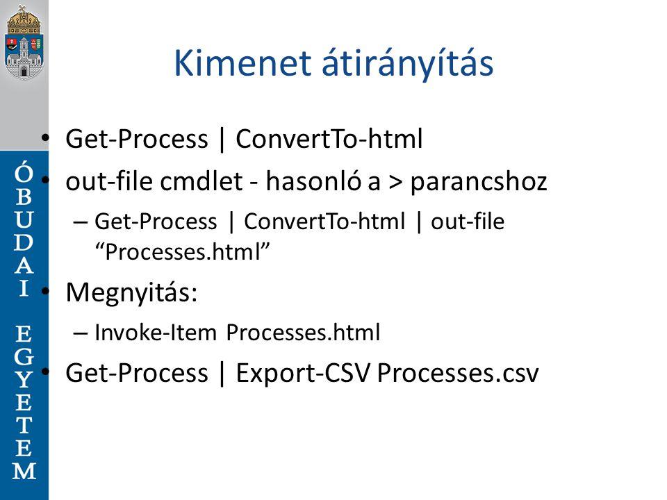 Kimenet átirányítás Get-Process | ConvertTo-html