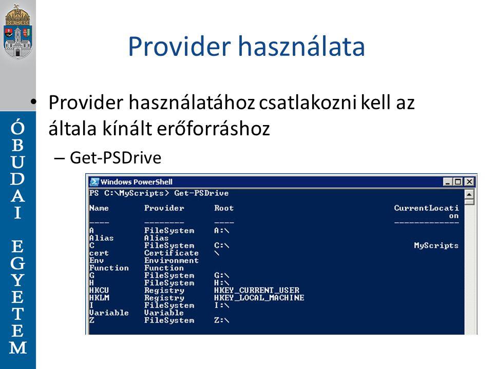 Provider használata Provider használatához csatlakozni kell az általa kínált erőforráshoz.