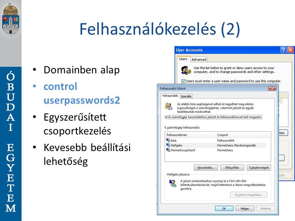 Felhasználókezelés (2)