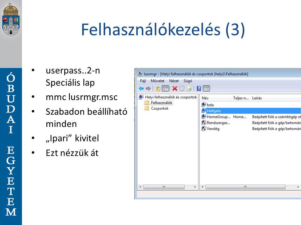 Felhasználókezelés (3)