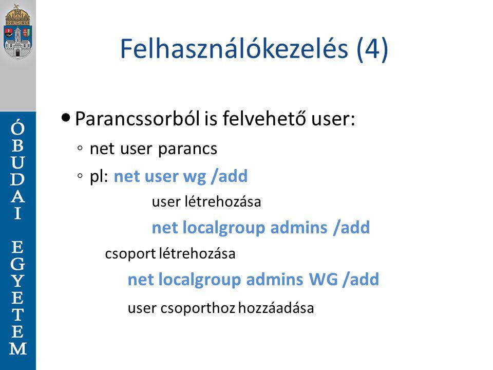 Felhasználókezelés (4)