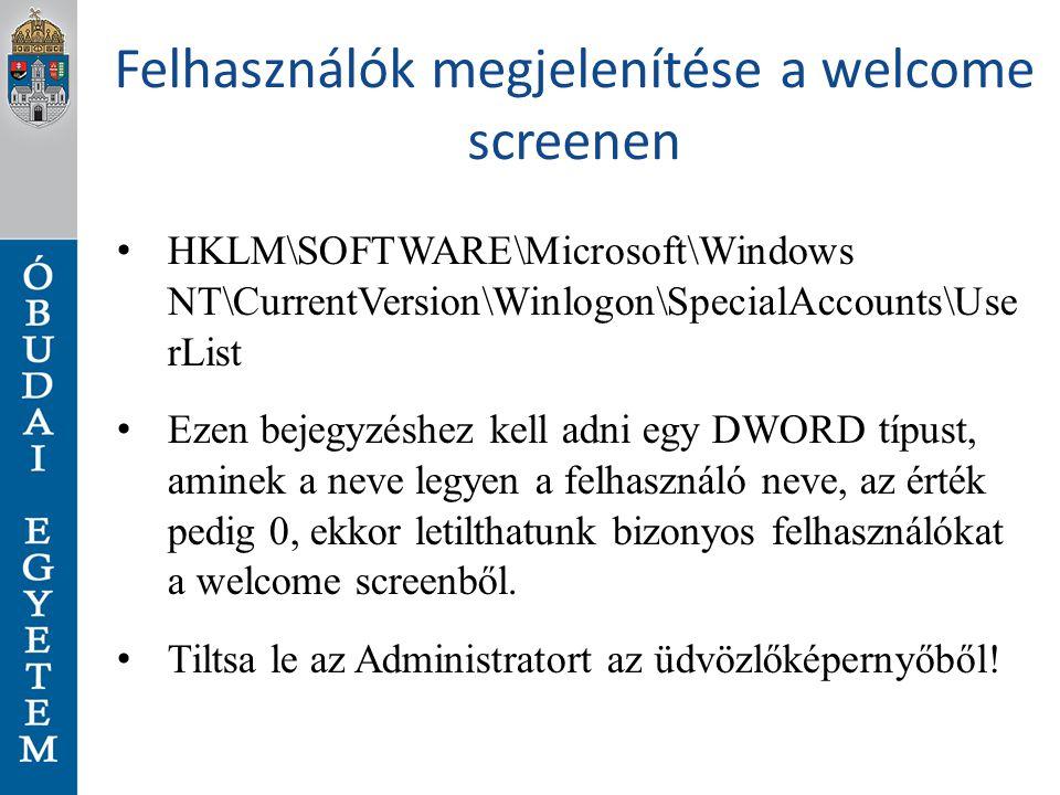 Felhasználók megjelenítése a welcome screenen