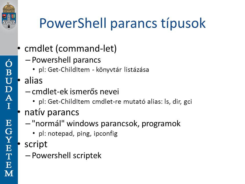 PowerShell parancs típusok