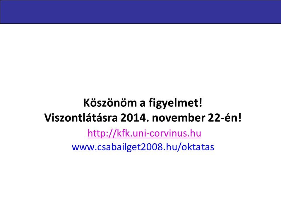 Levelezőképzés 2014.11.08. Köszönöm a figyelmet! Viszontlátásra 2014. november 22-én! http://kfk.uni-corvinus.hu www.csabailget2008.hu/oktatas.