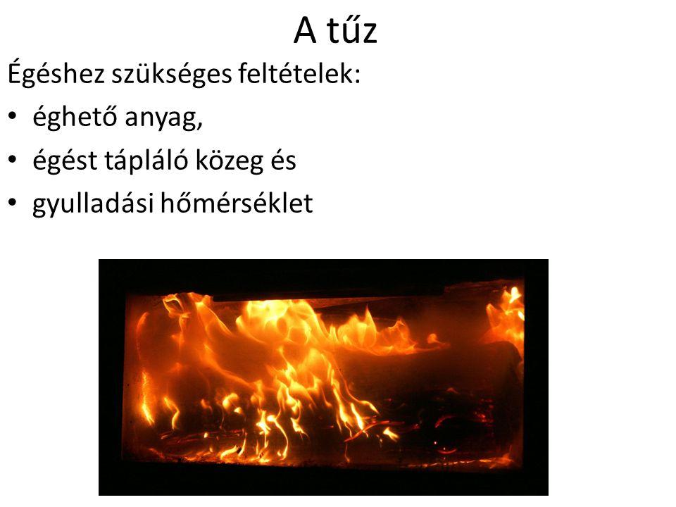 A tűz Égéshez szükséges feltételek: éghető anyag,