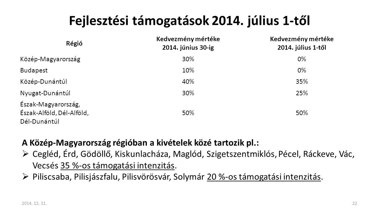 Fejlesztési támogatások 2014. július 1-től