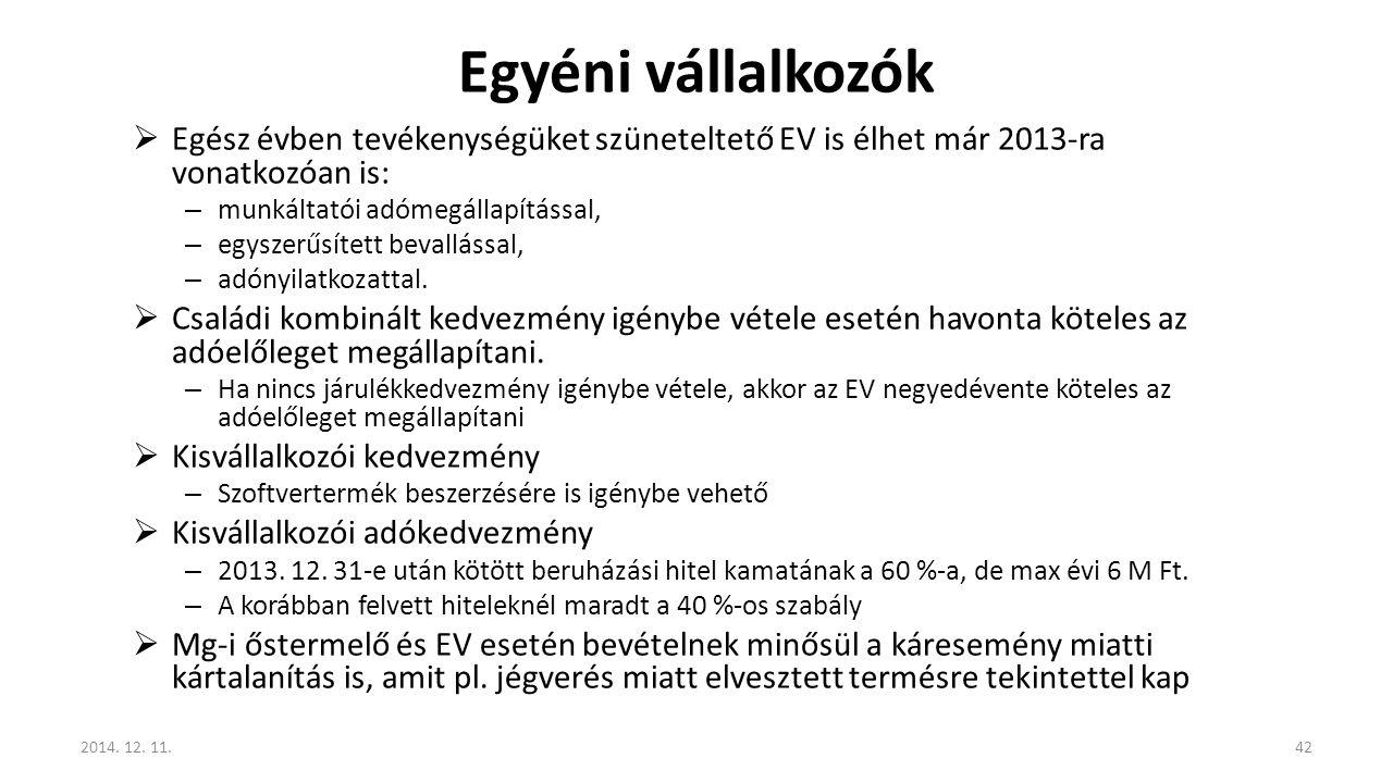 Egyéni vállalkozók Egész évben tevékenységüket szüneteltető EV is élhet már 2013-ra vonatkozóan is:
