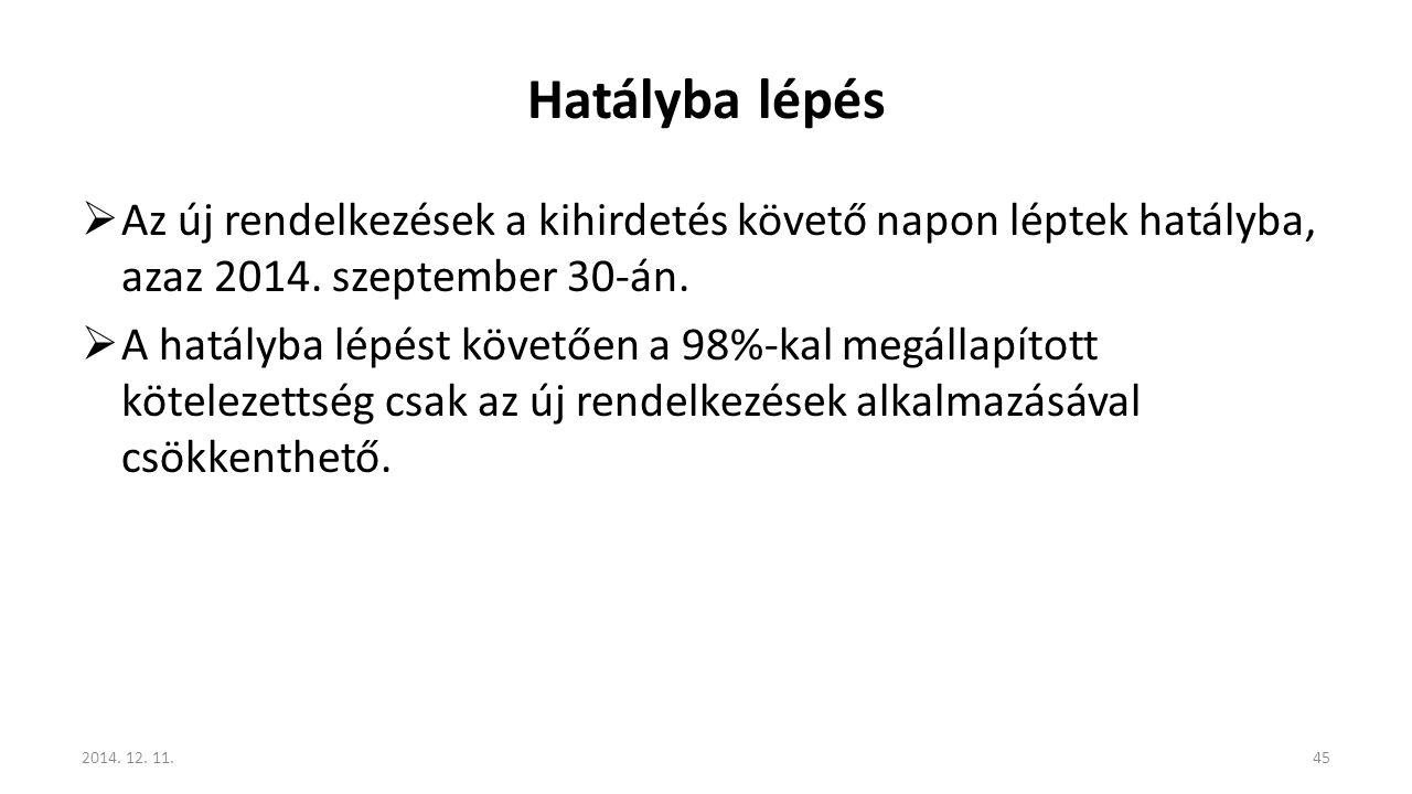 Hatályba lépés Az új rendelkezések a kihirdetés követő napon léptek hatályba, azaz 2014. szeptember 30-án.