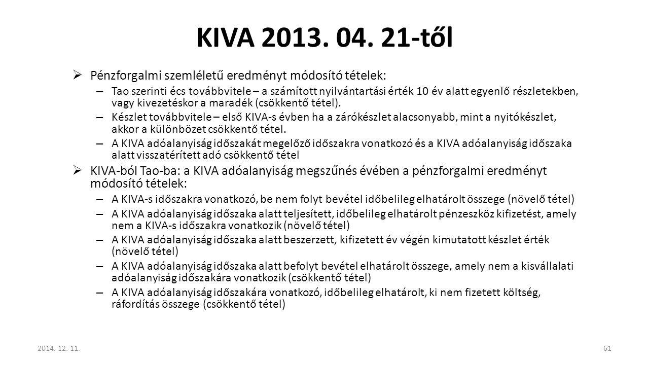 KIVA 2013. 04. 21-től Pénzforgalmi szemléletű eredményt módosító tételek:
