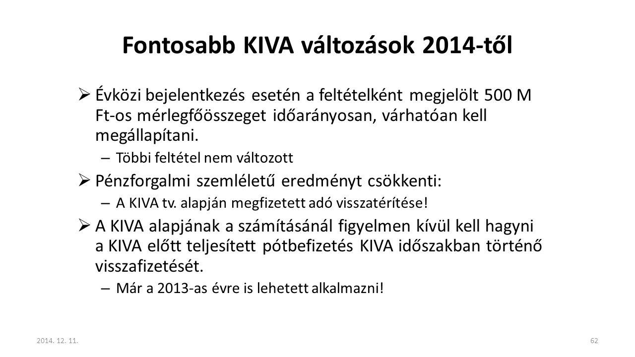 Fontosabb KIVA változások 2014-től