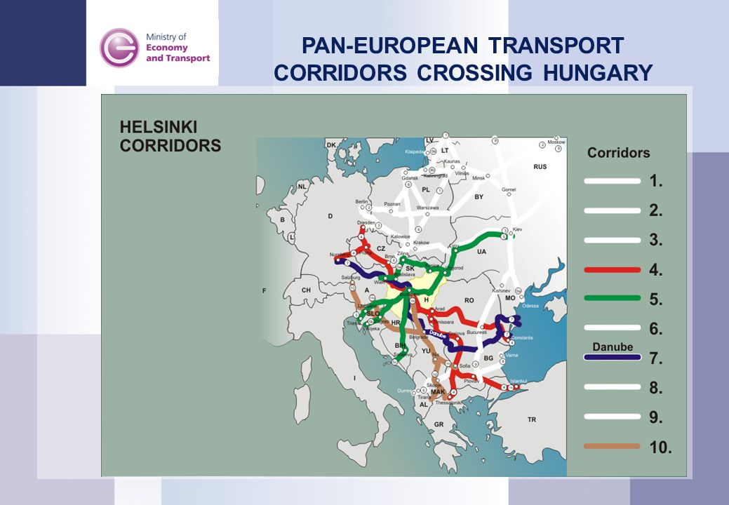 PAN-EUROPEAN TRANSPORT CORRIDORS CROSSING HUNGARY