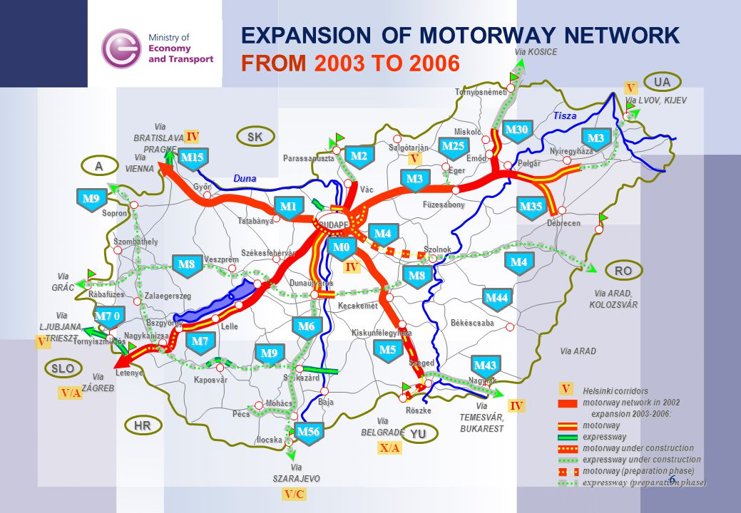 EXPANSION OF MOTORWAY NETWORK FROM 2003 TO 2006